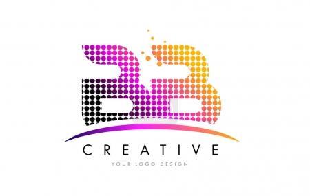 Illustration pour BB B B Pois Lettre Logo Design avec des cercles à bulles Magenta et Swoosh - image libre de droit