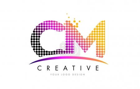 CM C M Letter Logo Design with Magenta Dots and Swoosh