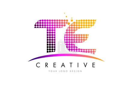 TE T E Letter Logo Design with Magenta Dots and Swoosh