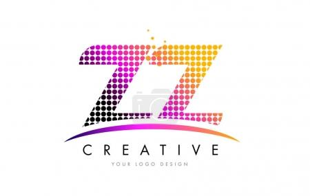 ZZ Z Letter Logo Design with Magenta Dots and Swoosh