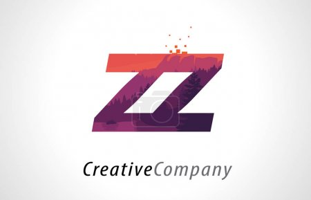 ZZ Z Letter Logo Design with Purple Forest Texture Flat Vector I