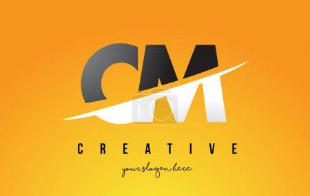 CM C M Letter Modern Logo Design with Yellow Background and Swoo