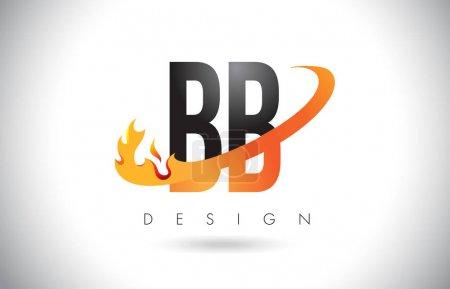 Illustration pour BB B B Modèle de logo lettre avec flammes de feu et illustration vectorielle orange Swoosh . - image libre de droit