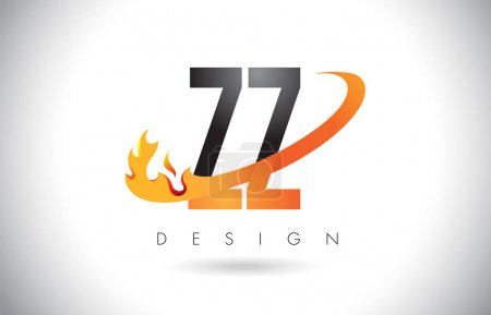 ZZ Z Letter Logo with Fire Flames Design and Orange Swoosh.