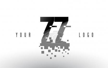 ZZ Z Pixel Letter Logo with Digital Shattered Black Squares