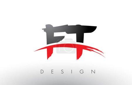 Illustration pour FT F T Brosse Logo Lettres Design avec des couleurs rouges et noires et brosse Lettre Concept . - image libre de droit