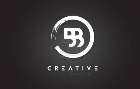 Illustration pour Logo lettre circulaire BB avec motif de brosse circulaire et fond noir . - image libre de droit