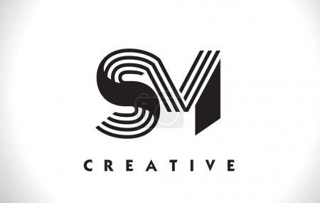 SM Logo Letter With Black Lines Design. Line Letter Vector Illus