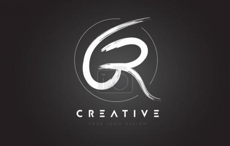GR Brush Letter Diseño de Logo. Cartas Artísticas Escrito a Mano Logo C