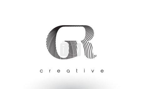 Diseño de Logo GR con múltiples líneas y colores blanco y negro .