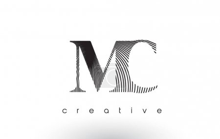 MC Logo Design With Multiple Lines. Artistic Elegant Black and White Lines Icon Vector Illustration.