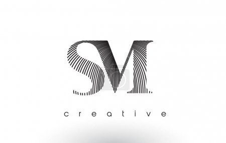 SM Logo Design With Multiple Lines and Black and White Colors.