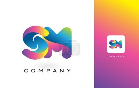 SM Logo Letter With Rainbow Vibrant Beautiful Colors. Colorful T