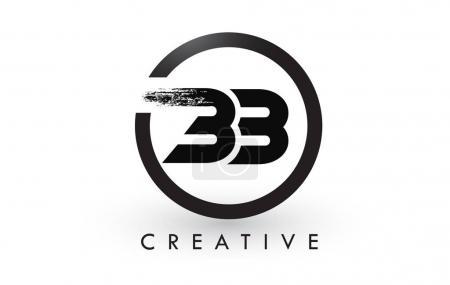 Illustration pour BB Brosse Lettre Logo Design avec cercle noir. Logo d'icône de lettres brossées créatives . - image libre de droit