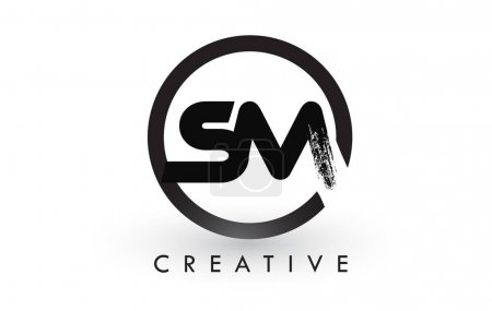 SM Brush Letter Logo Design. Creative Brushed Letters Icon Logo.