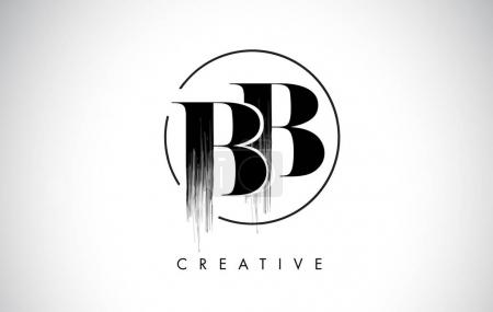 Illustration pour BB Brosse Lettre AVC Logo Design. Icône de lettres de logo de peinture noire avec la conception vectorielle élégante de cercle . - image libre de droit