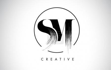 SM Brush Stroke Letter Logo Design. Black Paint Logo Leters Icon