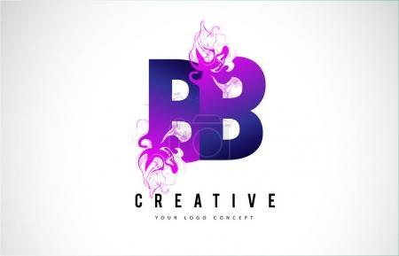 Illustration pour BB B B Design de logo de lettre pourpre avec illustration créative de vecteur d'écoulement d'effet liquide . - image libre de droit