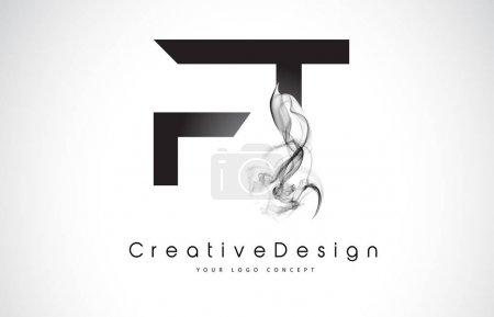 Illustration pour FT Letter Logo Design avec fumée noire. Illustration moderne créative de logo d'icône de vecteur de lettres de fumée . - image libre de droit