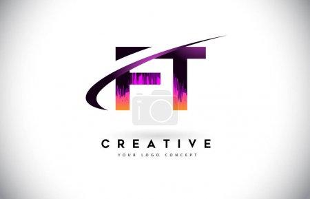 Illustration pour Logo FT F T Grunge Letter avec design violet aux couleurs vibrantes. Grunge créatif vintage Lettres Vector Logo Illustration . - image libre de droit