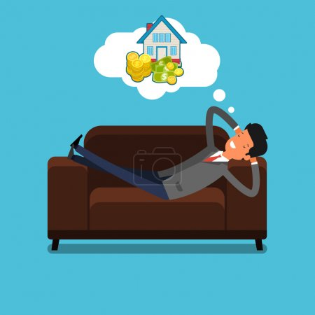 Illustration for Vector illustration of Businessman lying on couch and dreaming, Flat design - Royalty Free Image