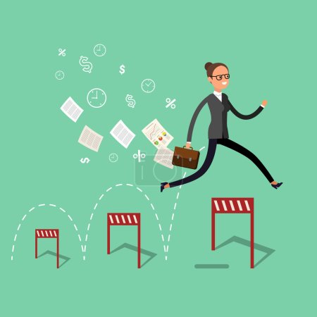 Business woman jumping over hurdles