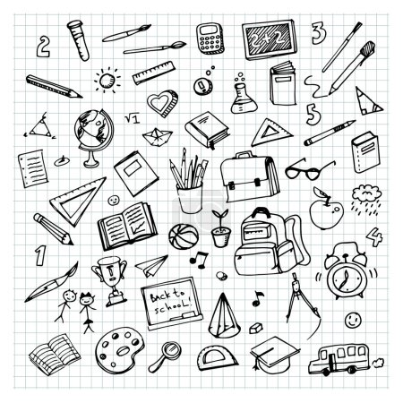 hand drawn school supplies