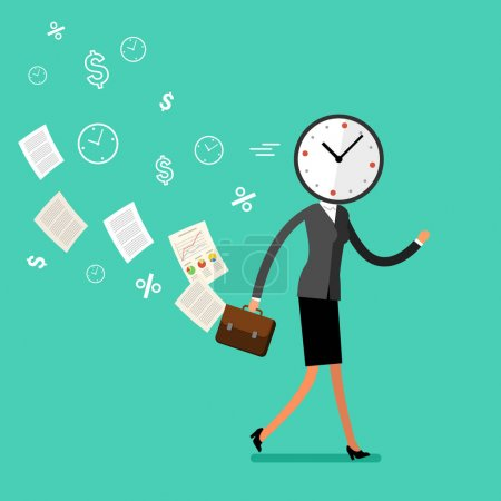Running businesswoman with clock instead of  head