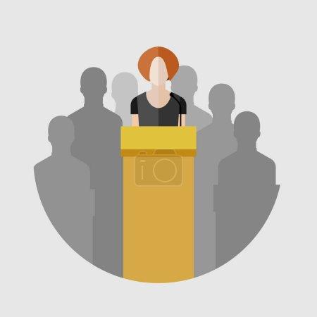 Woman speaking on podium