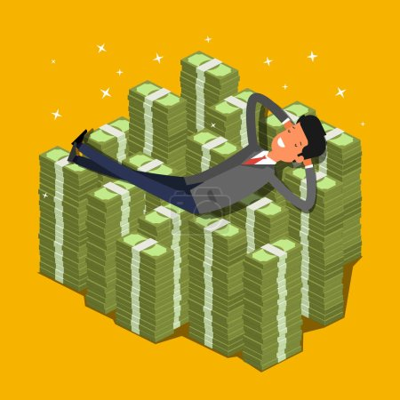 Photo for Businessman lying on a pile of money and dreaming. Flat design, vector illustration. - Royalty Free Image
