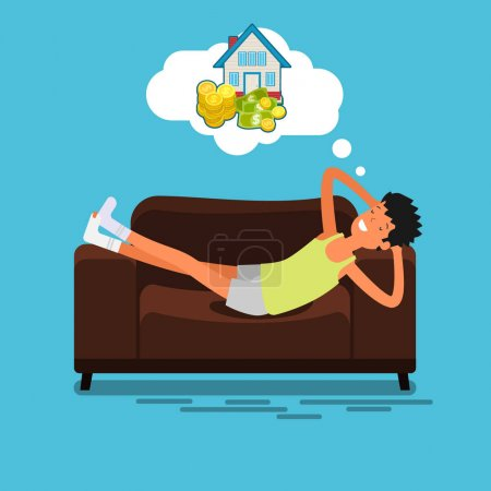 Illustration for Poor man lying on couch and dreaming about money and house. Flat design, vector illustration. - Royalty Free Image