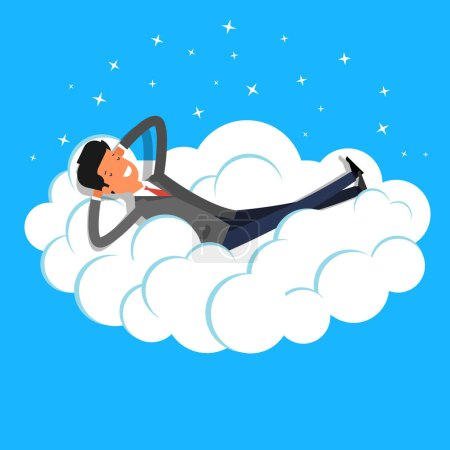 Illustration for Catroon businessman dreaming on cloud. Concept of big dreams - Royalty Free Image