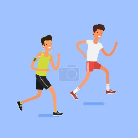 Illustration pour Deux dessins animés de jeunes hommes en cours d'exécution. Personnage de dessin animé de jogging. Marathon de Sprint. Notion de peuple Sport et l'activité - image libre de droit