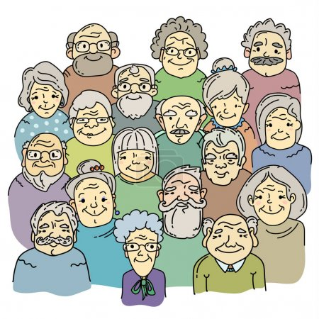 Illustration for Faces of old people isolated on white background, vector illustration - Royalty Free Image