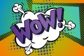 WOW sign in pop art comics style on colorful dots background