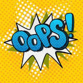 OOPS sign in pop art comics style on orange dots background