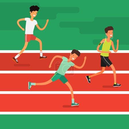 Illustration pour Groupe de jeunes hommes de bande dessinée en cours d'exécution. Personnage de dessin animé de jogging. Marathon de Sprint. Notion de peuple Sport et l'activité - image libre de droit