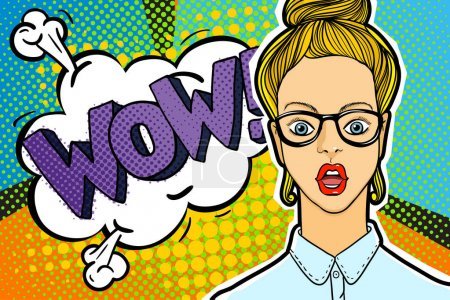 Illustration for Surprised and shocked woman with open mouth in pop art comics style with WOW word bubble. WOW message in comic style. - Royalty Free Image