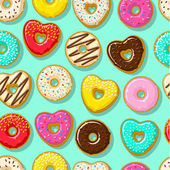 Different sweet donuts mint seamless background Cute and bright set of bagels Flat design vector illustration