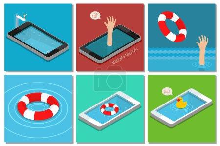 Illustration pour Concept de smartphone addiction. Ensemble de l'entreprise. Design plat, illustration vectorielle - image libre de droit
