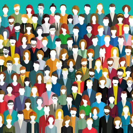 Crowd of abstract people. Seamless background. Fla...