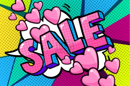 Sale Message in pop art style