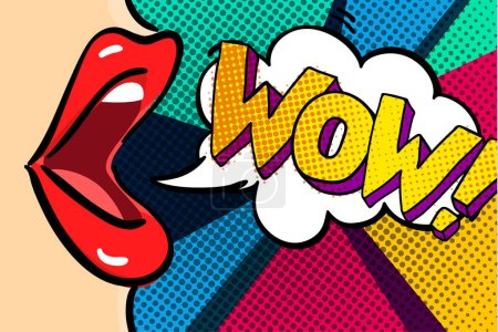 Open mouth and WOW Message in pop art style, promo...