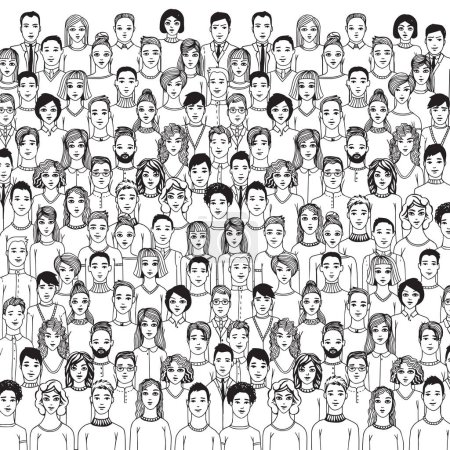 Crowd of abstract hand drawn people, line style....