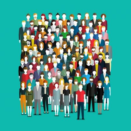The crowd of abstract people. Flat design, vector ...