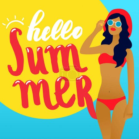 Hello summer lettering and Woman