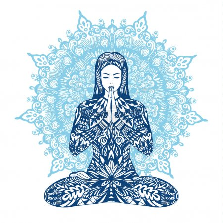 Illustration for Concept of meditation. Woman meditating with mandala background - Royalty Free Image