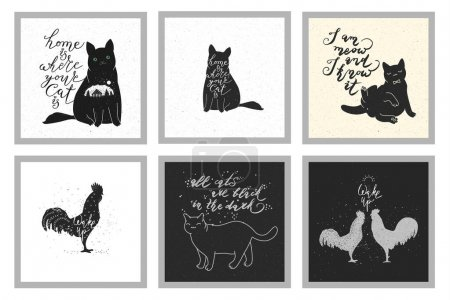 Vintage design with roosters and cats