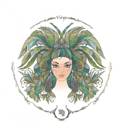 Illustration for Zodiac sign. Hand drawn portrait of beautiful woman. Vector illustration of Virgo zodiac sign. - Royalty Free Image
