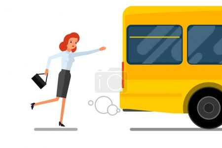 Business woman running after bus